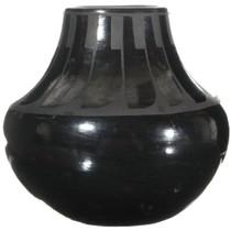 Authentic Ildefonso Blackware Feather Jar 34284