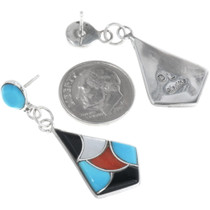 Multi Stone Inlay Turquoise Earrings 34289