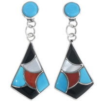 Zuni Turquoise Inlay Earrings 34289