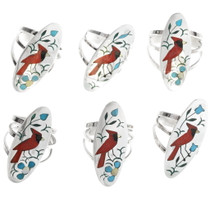 Turquoise Coral Inlay Cardinal Rings 34290