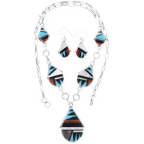 Native American Turquoise Inlay Necklace 34291