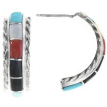 Zuni Inlaid Multi Stone Earrings 34293