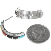 Sterling Silver Turquoise Half Hoop Earrings 34293