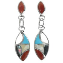 Inlaid Multi Stone Zuni Earrings 34295