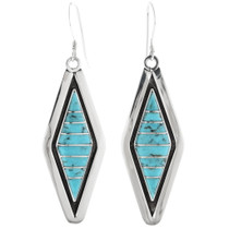 Turquoise Inlay Sterling Silver Earrings 34297