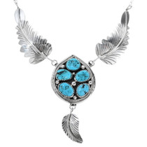 Navajo Turquoise Feather Necklace 34301