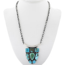 Sterling Silver Native American Turquoise Necklace 34306
