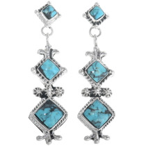 Navajo Turquoise Post Dangle Earrings 34308