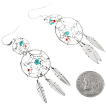 Sterling Silver Dreamcatcher Feather Earrings 34314