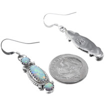 Navajo Sterling Silver Opal Earrings Artist Signed 34315