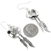 Sterling Silver Onyx Feather Earrings 34316