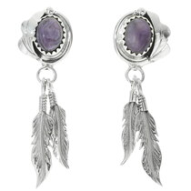 Navajo Sterling Silver Feather Earrings 34317
