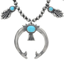 Sterling Silver Turquoise Navajo Squash Blossom 34318