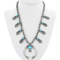 Sleeping Beauty Turquoise Squash Blossom Necklace 34318