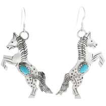 Navajo Turquoise Silver Horse Earrings 34322