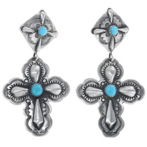Sterling Silver Turquoise Cross Earrings 34323