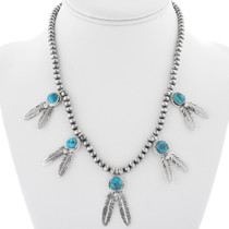 Navajo Turquoise Silver Feather Necklace 34324