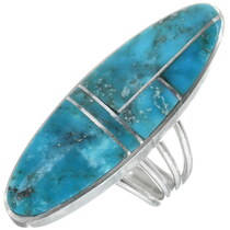 Navajo Turquoise Silver Pointer Ring 34328