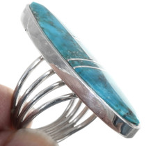Kingman Turquoise Inlay Silver Ring 34328
