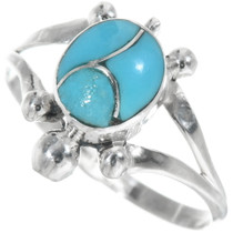 Turquoise Silver Turtle Ring 34329