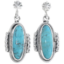 Turquoise Silver Navajo Earrings 34338