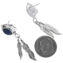 Lapis Sterling Silver Feather Earrings 34339