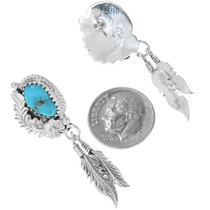 Western Turquoise Silver Earrings 34350