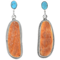 Navajo Turquoise Spiny Oyster Earrings 34351