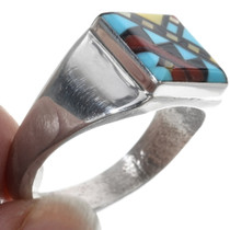 Turquoise Geometric Inlay Signet Ring 34352