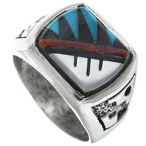 Zuni Inlaid Turquoise Silver Ring 34353