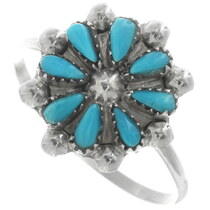 Navajo Turquoise Silver Flower Ring 34355