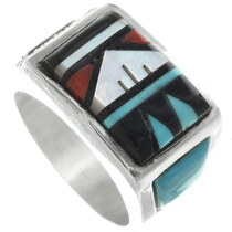 Zuni Inlaid Turquoise Mens Ring 34356