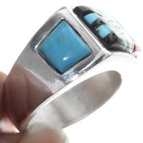 Asymmetric Turquoise Zuni Design Ring 34356