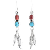 Turquoise Coral Feather Earrings