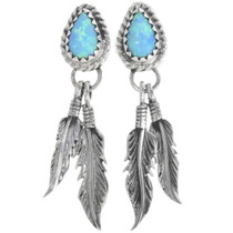 Opal Silver Navajo Feather Earrings 34361