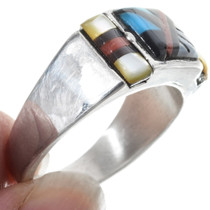 Zuni Inlaid Turquoise Mens Ring 34364