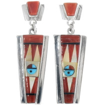 Coral Inlay Zuni Sunface Earrings 34366