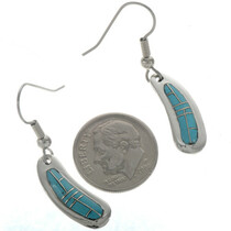 Zuni Inlaid Turquoise Dangle Earrings 18139