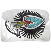 Eagle Inlaid Turquoise Silver Belt Buckle 34368