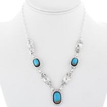 Ladies Turquoise Silver Link Necklace 34369