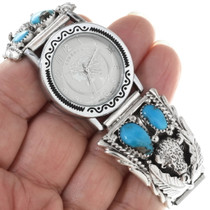 Sterling Silver Turquoise Western Watch 34371