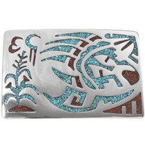 Navajo Bear Paw Turquoise Belt Buckle 34375