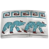 Walking Bear Turquoise Belt Buckle 34376