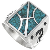Inlaid Turquoise Kokopelli Ring 34378