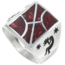 Coral Mens Kokopelli Ring 34379