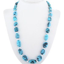 Natural Turquoise Nugget Beaded Necklace 34382