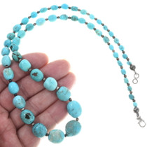 Turquoise Silver Bead Necklace 34385