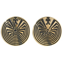 Man in the Maze Gold Post Earrings 29549