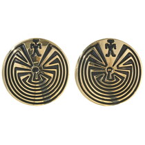 Man in the Maze Gold Post Earrings 29549