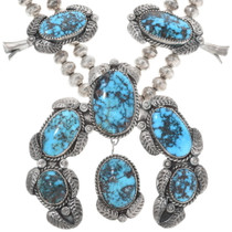 Bisbee Turquoise Squash Blossom Jewelry Set 34374